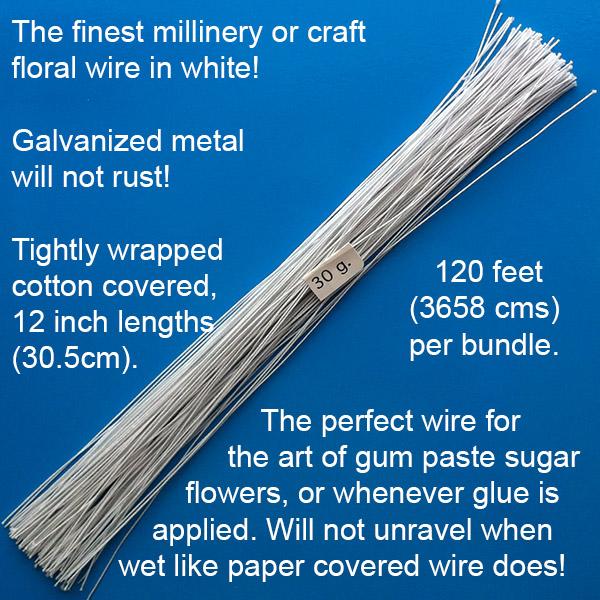 White Floral Wire – 30 gauge – World of Sugar Art