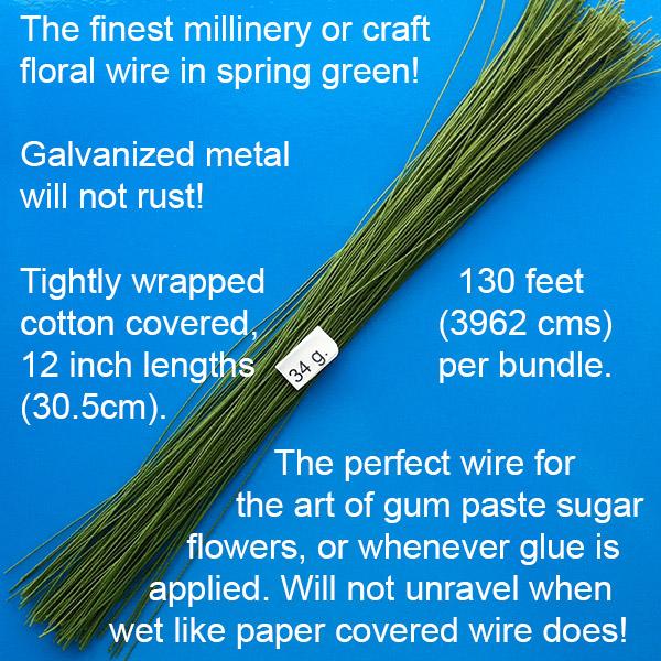 Green Floral Wire – 34 gauge – World of Sugar Art